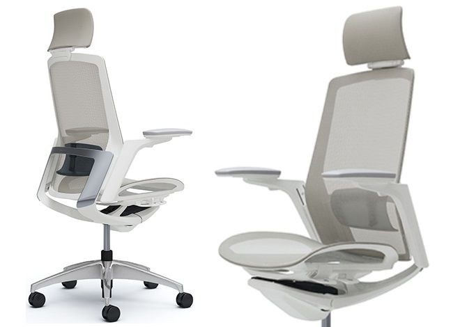 OKAMURA FINORA Full Light Grey mesh Chair with White body Chrome back frame Polished base