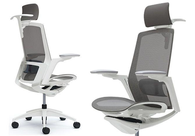 OKAMURA FINORA White base Office Chair with Medium Grey mesh seat