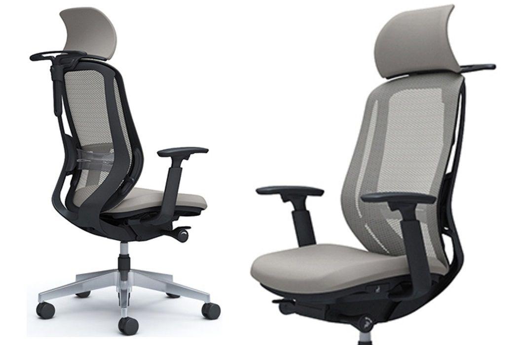 OKAMURA SYLPHY Light Grey mesh Polished base Chair