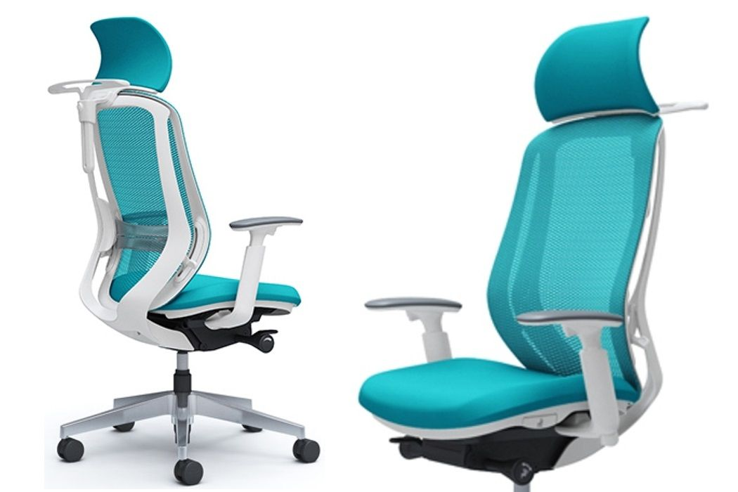 Okamura SYLPHY Blue Green mesh White shell Chair