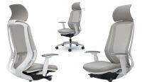 OKAMURA SYLPHY Grey Mesh White Body Chair with Headrest